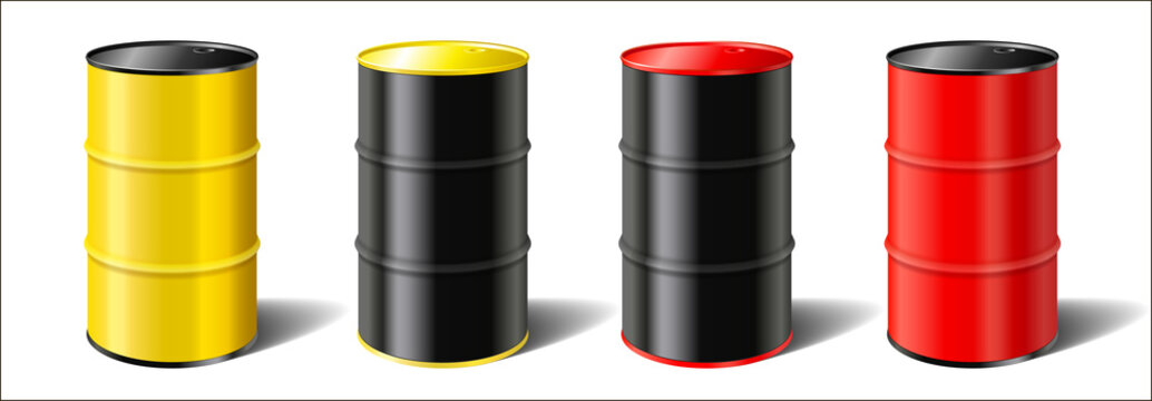 set realistic colorful industrial metal barrels