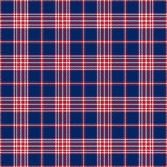 Patriotic Tartan  of White , Blue, Red Seamless Patterns.