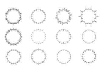 Set of circular decorative frames. Vector illustration.
