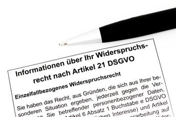 DSGVO Informationszettel Widerspruchsrecht