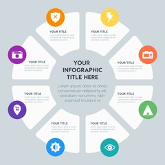 Circle chart location, security, video, photos infographic template with 8 options for presentations, advertising, annual reports