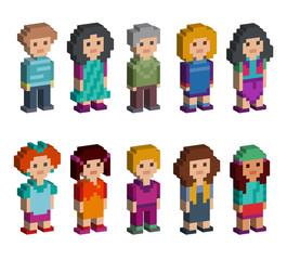 Set of funny pixel art style isometric characters. Men and women are standing on white background. Vector illustration.