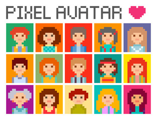 Set of color square avatars in 8 bit  pixel style. Male and female character.