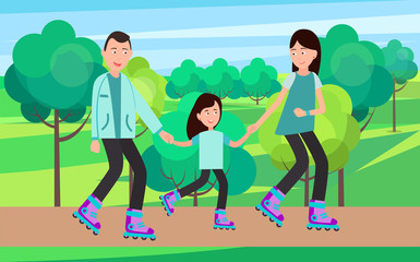 Family Roller Skating Together Vector Illustration