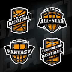 Set of Basketball sports logos.
