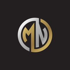 Initial letter MN, looping line, circle shape logo, silver gold color on black background