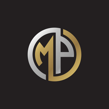 Initial letter MP, looping line, circle shape logo, silver gold color on black background