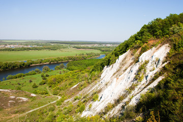 Nature of central Russia. Landscape with Don river valley and Chalk hills.