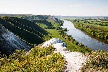 Chalk mountins and hills in Don River valley, Storozhevoe, Voronezh dist, Russia
