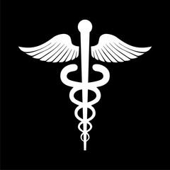Caduceus sign icon on dark background