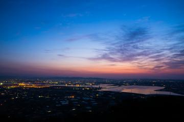 愛知県 田原市 蔵王山展望台 朝焼け