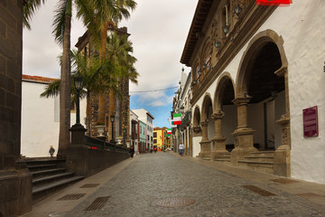 Street in a town of Santa Cruz de la Palma, island of la Palma, Canary islands