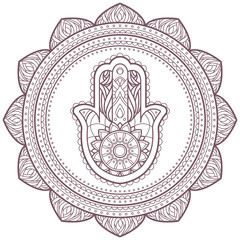 Line art of hamsa hand designed for coloring books