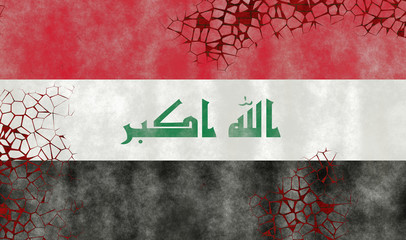 Illustration of an Iraqi Flag, imitating of painting on the old wall with cracks