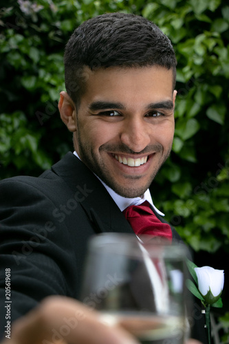Gay Couple At Wedding Reception Toast Being Married Stock Photo And