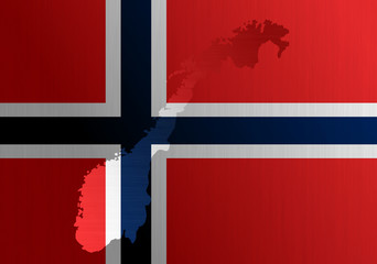 Norwegian flag with a contour of border