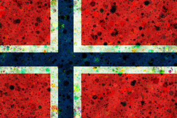 Illustration of a Norwegian flag with a blossom pattern