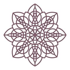 Line art of simple circular celtic mandala design for coloring books