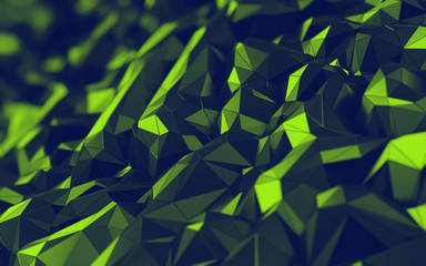 3D Abstract hexagonal polygonal low poly triangular high resolution futuristic yellow, green energetic background wallpaper
