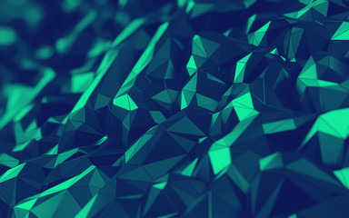 3D Abstract hexagonal polygonal low poly triangular high resolution futuristic green energetic background wallpaper