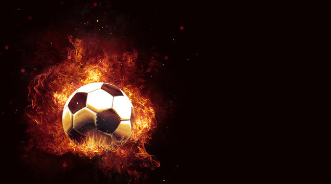 Fiery soccer ball engulfed in hot flames