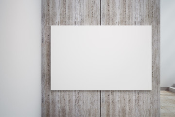 Empty white concrete wall banner