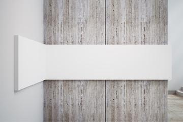 Blank white concrete wall banner