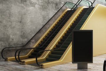 Golden escalator with empty poster