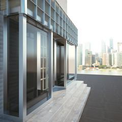 Modern storefront side