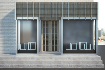 Modern storefront with copyspace