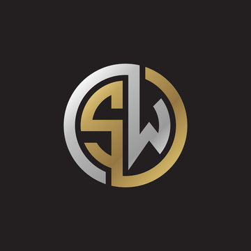 Initial letter SW, looping line, circle shape logo, silver gold color on black background