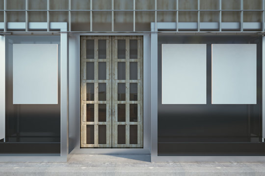 Contemporary glass shopfront with poster