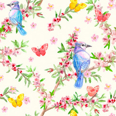 romantic flower seamless texture with cute birds. watercolor painting