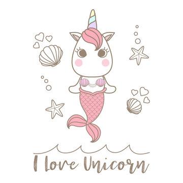 Isolated cute little unicorn mermaid
