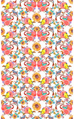 royal vintage seamless border with fancy foliage pattern and birds, butterflies. watercolor painting.