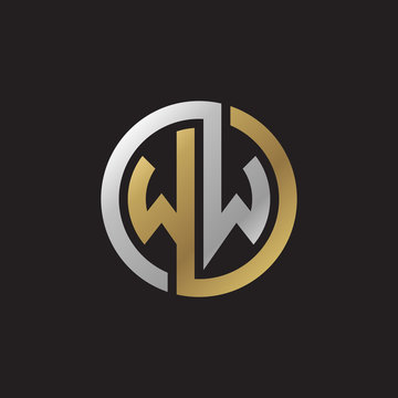 Initial letter WW, looping line, circle shape logo, silver gold color on black background
