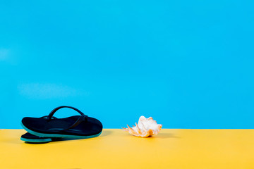 Black and green Flip-flops, seashell summer set. Summer is coming concept. Minimal style, minimalist photography. Yellow, pink and blue pastel colors background.