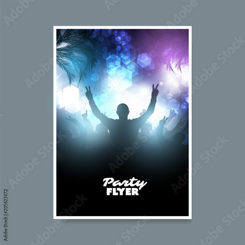 colorful party or festival poster placard flyer or cover design