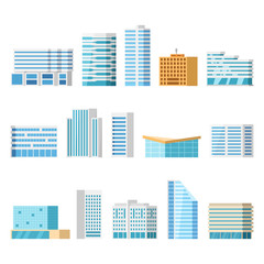 Modern city buildings, isolated vector flat cartoon set. Tower and office, city architecture, house business apartment