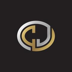 Initial letter CJ, looping line, ellipse shape logo, silver gold color on black background