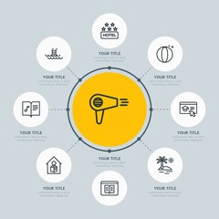 Circle network chart hotel, education, travel infographic template with 8 options for presentations, advertising, annual reports.