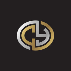 Initial letter CY, looping line, ellipse shape logo, silver gold color on black background