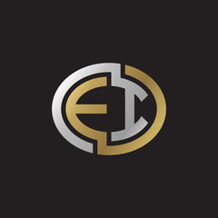 Initial letter EI, looping line, ellipse shape logo, silver gold color on black background