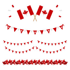 Set, collection of design elements for Canada Day and other canadian national holidays.