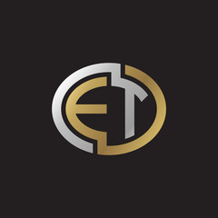 Initial letter ET, looping line, ellipse shape logo, silver gold color on black background