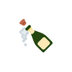 Bottle with Popping Cork, Champagne, alcohol drink vector illustration flat icon symbol emoji emoticon