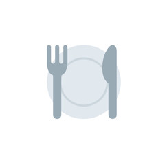 Fork and Knife with Plate vector illustration flat icon symbol emoji emoticon
