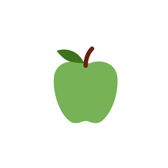 Green Apple fresh fruit flat vector illustration icon symbol emoji emoticon