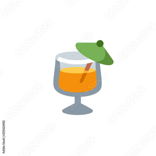 Tropical Exotic Drink Cocktail Cup Vector Illustration Flat Icon
