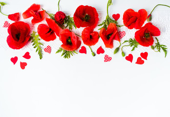 Poppy flowers arrangement on white background